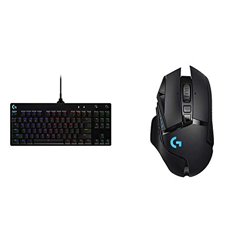 Logitech G PRO Mechanical Gaming Keyboard, Ultra Portable Tenkeyless Design, Detachable Micro USB Cable & G502 Lightspeed Wireless Gaming Mouse with Hero 25K Sensor, PowerPlay Compatible, Black