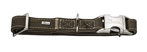 HUNTER HUNTING ALU-STRONG Hundehalsung, Hundehalsband, Aluminium Steckverschluss, Leder, robust, weich, M, oliv