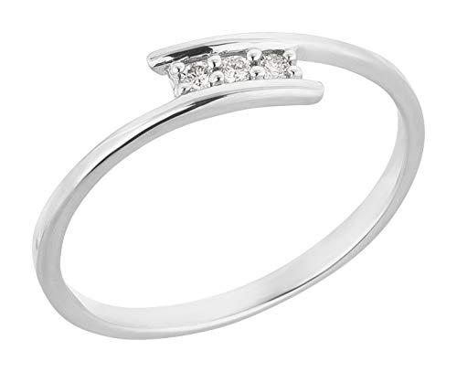 Ardeo Aurum Damenring aus 375 Gold Weißgold mit 0,06 ct Diamant Brillant 3-Steine-Ring Verlobungsring