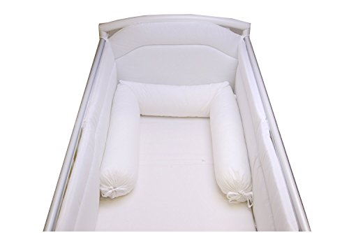 Babysanity® Accogliente Riduttore Paracolpi Lettino Cilindro Sfoderabile Con Lacci Lunghezza del Salsicciotto 190 cm Diametro 15 cm -MADE IN ITALY- (Bianco)