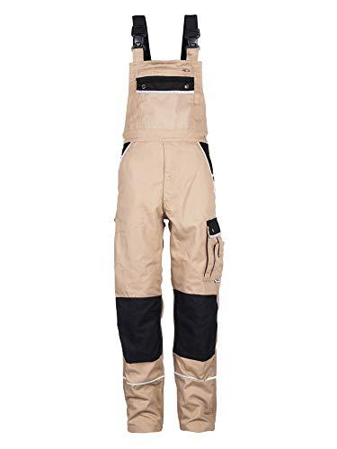 TMG® Arbeitslatzhose Herren, Lange Arbeitshose mit Latz und Kniepolstertaschen Khaki 54