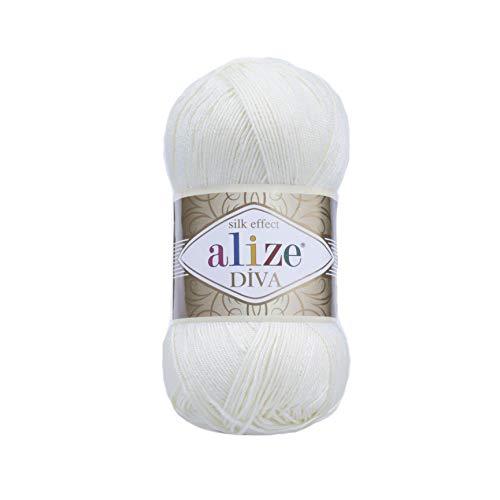 5 x 100 Gramm Wolle Diva Batik einfarbig , 500 Gramm merzerisierte Strickwolle microfiber-Acryl (weiß 1055)