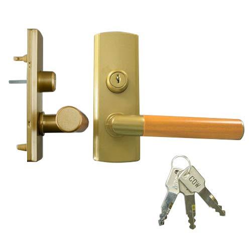 LIXIL(リクシル) TOSTEM ウッドグリップDタイプ(シリンダー錠) 金属部:サテンゴールド 木部:キャラメルモカ MZTKWDC05