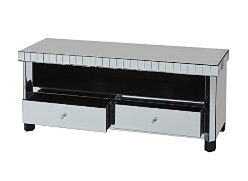 Abreo Mirrored TV Stand with 2 Storage Drawers Shabby Chic French Style