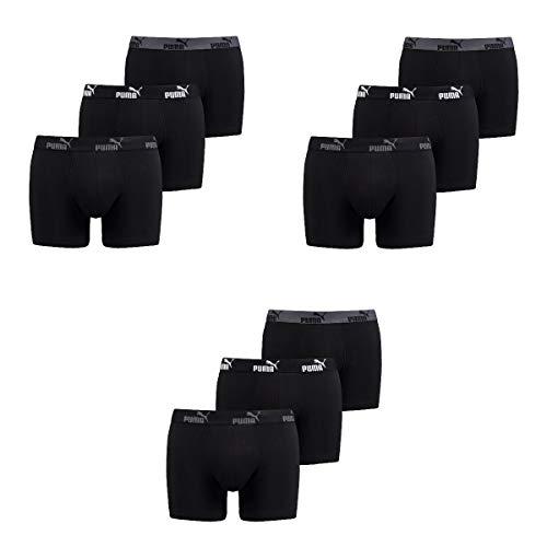 Puma 9 er Pack Boxer Boxershorts Herren Unterwäsche Sportliche Retro Pants, Bekleidungsgröße:XL, Farbe:200 - Black