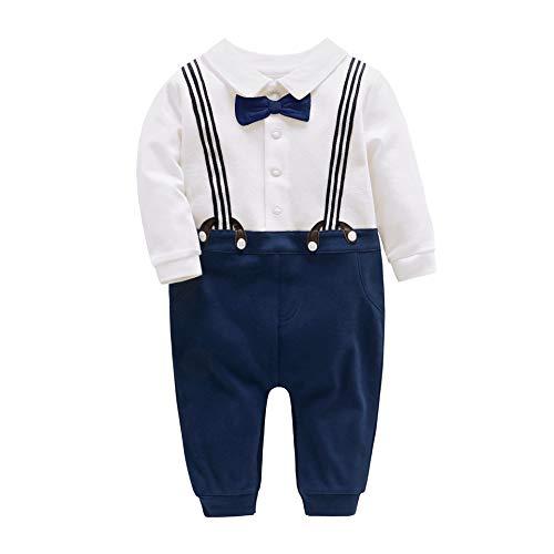 JooNeng Baby Boys Gentleman Long Sleeve Romper,12-18M Navy