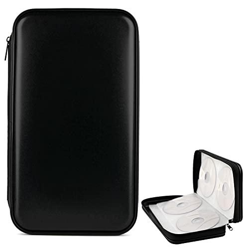 COOFIT CD Tasche, CD Mappe 80 CD/DVD Tasche DVD Lagerung DVD Case CD Wallets CD-Tasche CD Case Speicher Organizer Hard Plastik Schutz DVD Lagerung (Black)