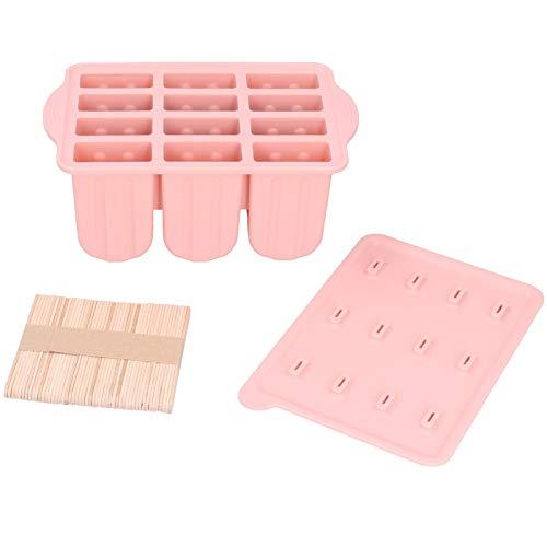 Molde de silicona para helado, 12 rejillas Moldes de silicona para helado Bandeja Molde para hacer helado con tapa y 50 palos(Palito de helado rosa +50)