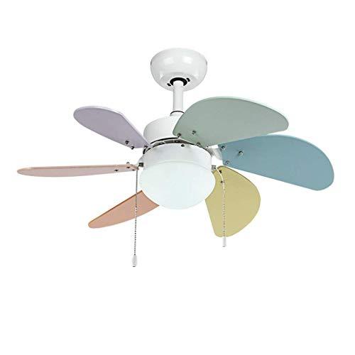 Ventilador de techo con luz de 30 pulgadas Moderno de 30 pulgadas LED Ventilador de techo Luz Concisa Multicolor Romántico Dormitorio Fan Light Kid's Room Light Fan para la sala de estar Dormitorio (C