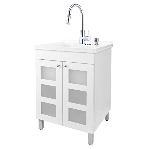 White Tehila Utility Sink Vanity, Chrome High-Arc Pull-Down Sprayer Faucet, Soap Dispenser and Spacious Cabinet by JS Jackson Supplies for Garage, Basement, Shop and Laundry Room