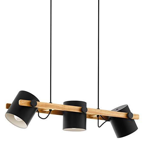 EGLO Lustre HORNWOOD, suspension vintage à 3 flammes au design industriel, lampe suspendue rétro en acier et en bois, couleur : noir, crème, marron, douille : E27