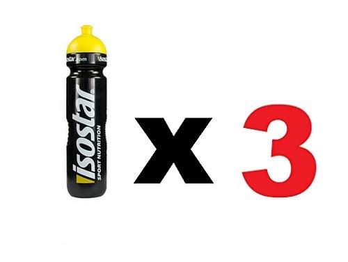 Isostar Sport Trinkflasche 1000 ml - BPA-frei - Wasserflasche für Laufen, Radfahren, Gym, Wandern - Praktischer und auslaufsicherer Push & Pull Verschluss (3x1000 ml )
