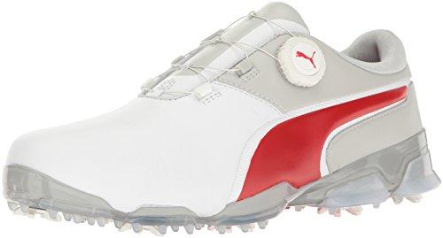 PUMA Men's Titantour Ignite DISC Golf Shoe, White-High Risk Red-Gray Violet, 10 Medium US