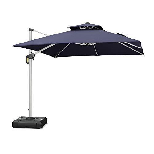 PURPLE LEAF - Paraguas de patio de 11 pies, para exterior, cuadrado, para exterior, gran voladizo, paraguas compensado a prueba de viento, resistente, para jardín, terraza, piscina, patio, azul marino