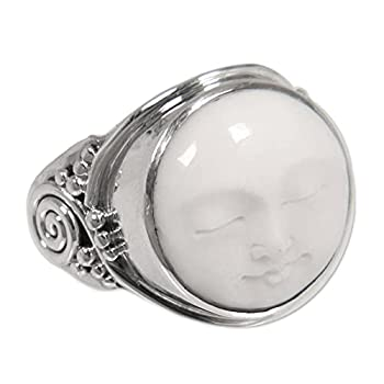 NOVICA .925 Sterling Silver Handcrafted Cocktail Ring  Face of the Moon