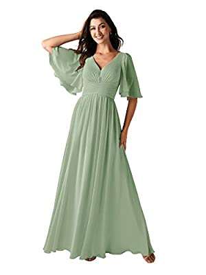 ALICEPUB V-Neck Sage Green Bridesmaid Dresses for Women Wedding Chiffon Long Party Prom Dress with Sleeves, US8