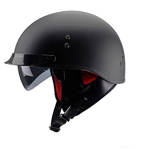 LALEO Offenes Motorradhelm, Jet-Helm mit Visier, Roller-Helm, Scooter-Helm, Damen und Herren ECE Genehmigt, Schwarz, Mattschwarz, Weiß (57-62cm),matteblack,L