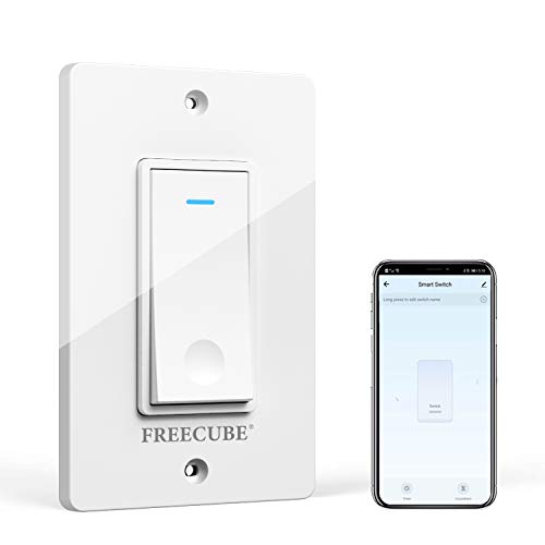 Smart Switch, Smart Light Switch Work with Alexa and Google Home, FREECUBE WiFi Light Switch, Easy in-Wall Installation, No Hub Required, Needs Neutral Wire, Single-Pole, 2.4GHz