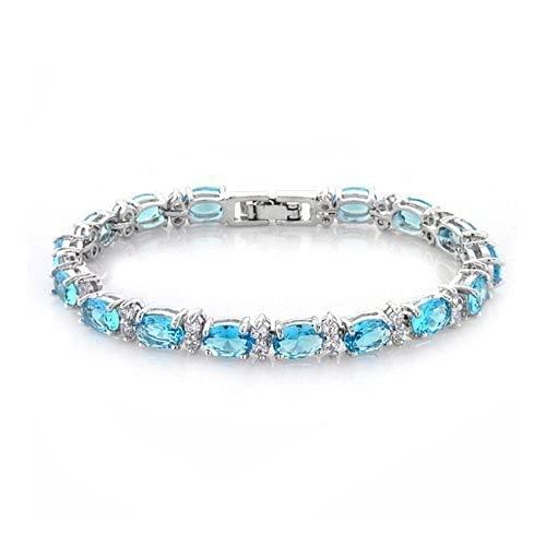 SataanReaper Presents Platino Plateado Elegante Pulsera De Cristal Austriaco para Mujeres Y Niñas (Azul)#SR-4168