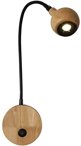 DINGYGJ Lámpara de lectura LED de madera con lámpara de pared interruptor de 3W, luz de la cama ajustable flexible, lámpara de noche, luz de la pared LED de lectura de cabecera iluminación luz pared d