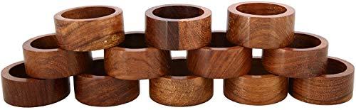 Ajuny Juego de 12 servilleteros decorativos de madera hechos a mano para decoración de mesa de cena, fiesta, 1,5 pulgadas ⭐