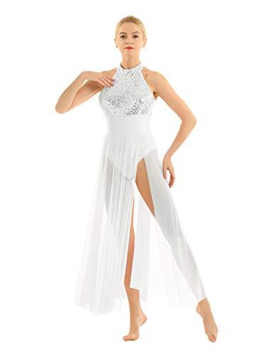 TiaoBug Femme Robe de Danse Tutu Justaucorps Ballet Latine Salsa Tango Robe à Paillettes Soirée Body Patinage Combinaison Gymnastique Costume Performance XS-XL Blanc Medium