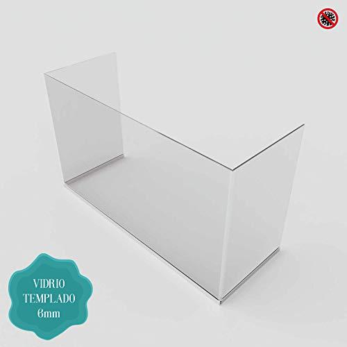 Beschermfolie, douchescherm, etalages, tafels – 6 mm gehard glas. Personaliseerbare afmetingen. 140 x 80 x 35 cm Transparant