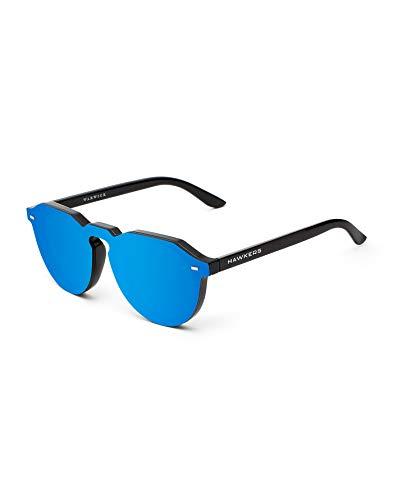 HAWKERS Hybrid Gafas de Sol Warwick Sky, para Hombre y Mujer, un clásico renovado Que combina Montura Brillo y Lente de máscara Efecto, Protección UV400, Negro/Azul espejo, One Size Unisex Adulto