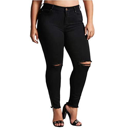 Vaqueros Mujer Tallas Grandes Pantalones Rotos Mujer Negros Skinny Jeans Cintura Alta Jeggings Mezclilla Talle...