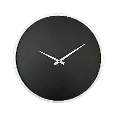 Rebecca Mobili RE6242 wandklok, groot, zwart en wit, metaal, rond, modern, MDF, 40 x 5 x 40 cm