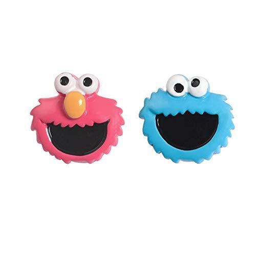 Shunyunfa 2 Pcs Brooch Enamel Lapel Sesame Street Pins Gifts Cartoon for Clothing Bags Hat DIY Crafts