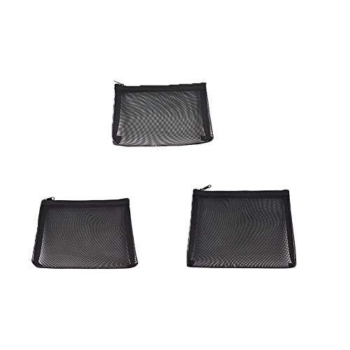 Zipper Mesh Sacs Beauté Maquillage Accessoires Cosmétiques Organisateur Mesh Maquillage Sac Voyage Set Kit De Stockage De Cas Toiletry Black Pack De 3 X