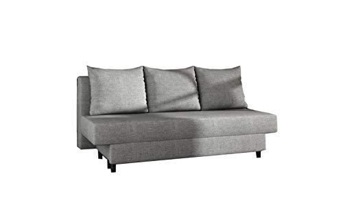 MOEBLO Sofa mit Schlaffunktion Sofa Couch Polstergarnitur Wohnlandschaft Polstersofa mit Betkasten - Kamazo (Hellgrau(Savana 21))