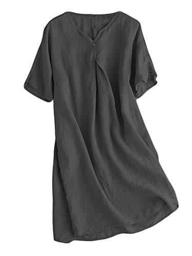 Mallimoda Damen Sommerkleid Leinenkleider V-Ausschnitt Kurzarm Midi Kleid Lange Tunika Bluse Schwarz XL