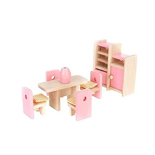 Pixnor Dollhouse salle à manger en bois meubles ensemble Table + chaise + affichage unité + Vase