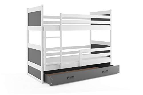 Cama litera infantil, RICO, blanco, 160x80, somieres y colchones de espuma GRATIS, nuevo diseño!