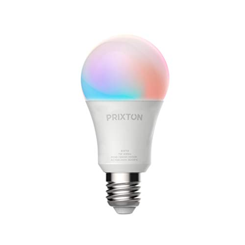PRIXTON - Wifi/Smart Bulb/Smart Led Bulbs, E27 7W RGB+warm+cool, Programmeerbaar, Voice Assist Compatible, 16 Miljoen verschillende kleuren | BW10