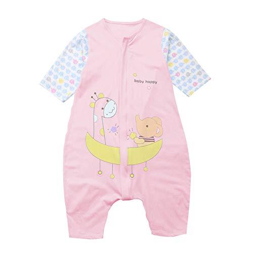 Bebé Saco de Dormir Algodón Bolsa de Dormir con Piernas 1.5 Tog Mameluco Primavera Verano Pijamas Manga Corta para Niños Niñas, 1-2 Años