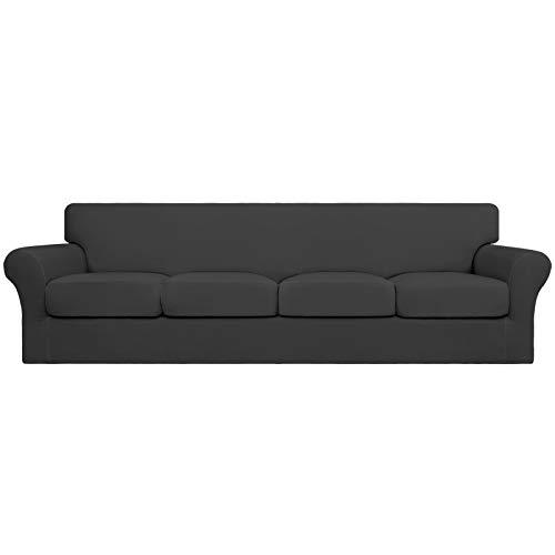 Easy-Going Funda de sofá de 4 plazas para perros de gran tamaño, elástica, suave, lavable, para 4 cojines separados, protector de muebles elástico para mascotas, niños gris oscuro