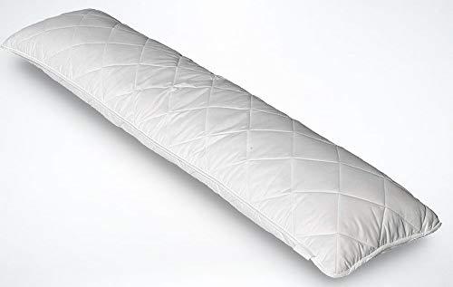 Iore Zijslaapkussen met gewatteerde kussensloop 40x145 cm, Made in Germany, ademend zwangerschapskussen, zacht kussen 1650 gram