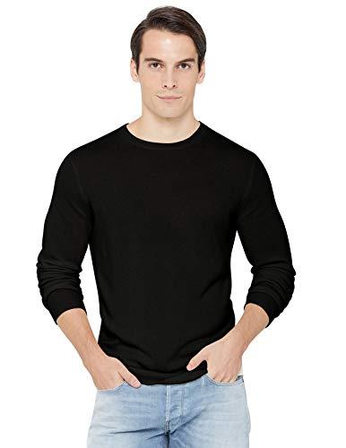 State Cashmere Men's Essential Crewneck Sweater 100% Pure Cashmere Classic Long Sleeve Pullover (Medium, Black)
