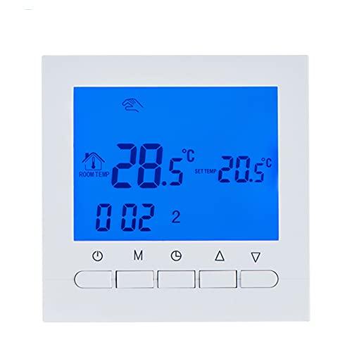 Beok Termostato de Caldera Gas 3A calefacción de programable Digital con Pantalla LCD Controlador de Temperatura de retroiluminación Azul operado por batería