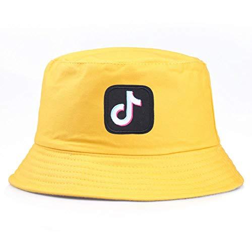 YDY Outdoor Korean Männer Frauen Bucket Cap Musikalische Note Gestickte Faltfischer Hut Hut Sonnenschirm Becken Hut, Gelb, Einheitsgröße