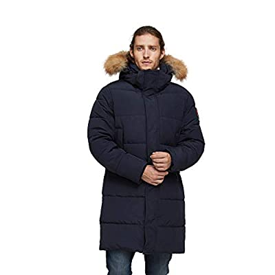 TIGER FORCE Winter Coat Jacket for Men with Hood Thickened Quilted Puffer Jacket Parka Long Outerwear Warm Ski Snowjacket Blue