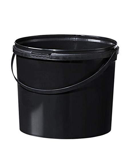 Fuduu.de Kunststoff Eimer farbig 5,5 ltr. mit Deckel (1 Stück) (schwarz)
