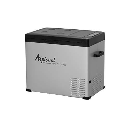 Alpicool C50 Portable Refrigerator 53 Quart(50 Liter) 12 Volt Car Freezer for Vehicle, Truck, RV, Boat, Mini Fridge Freezer for Travel, Outdoor, Home -12/24V DC and 110-240V AC (Black and Silver)