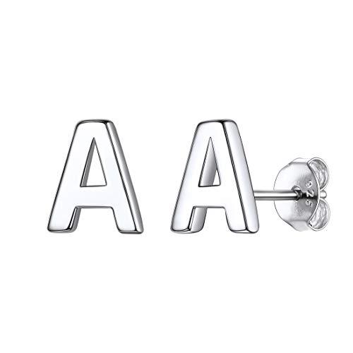 A Pendientes Antialérgicos Plata Esterlina 925 Chapado en Platino Letras Mayúsculas Superficie Brillo Diseño Simple Clásico Elegante