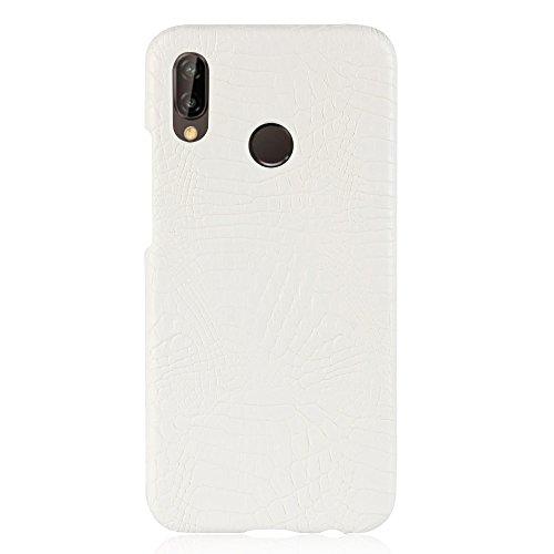 Para Huawei P20 Lite/Nova 3E capa de couro sintético com estampa de crocodilo (Branco)