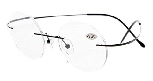 Eyekepper titanio senza montatura rotonda occhiali da lettura Lettori Black