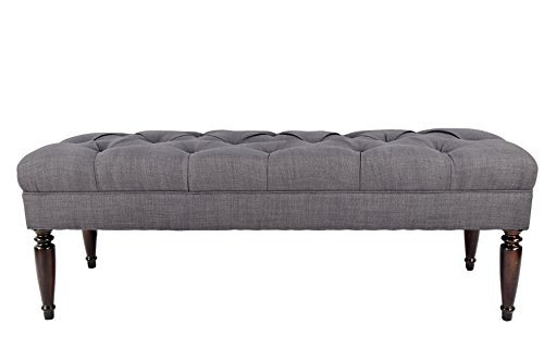 MJL Furniture Designs Claudia Collection Upholstered Diamond Tufted Bedroom Accent Bench, HJM100 Series, Gray-Red Tint